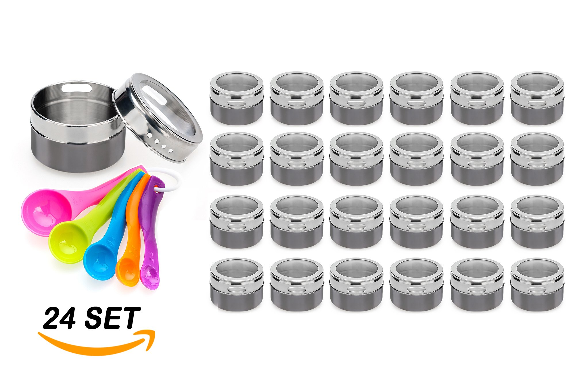 Stainless Steel Magnetic Spice Jars – Bonus Measuring Spoon Set – Airtight Kitchen Storage Containers – Stack on Fridge to Save Counter & Cupboard Space – 36pc Organizers in Gray