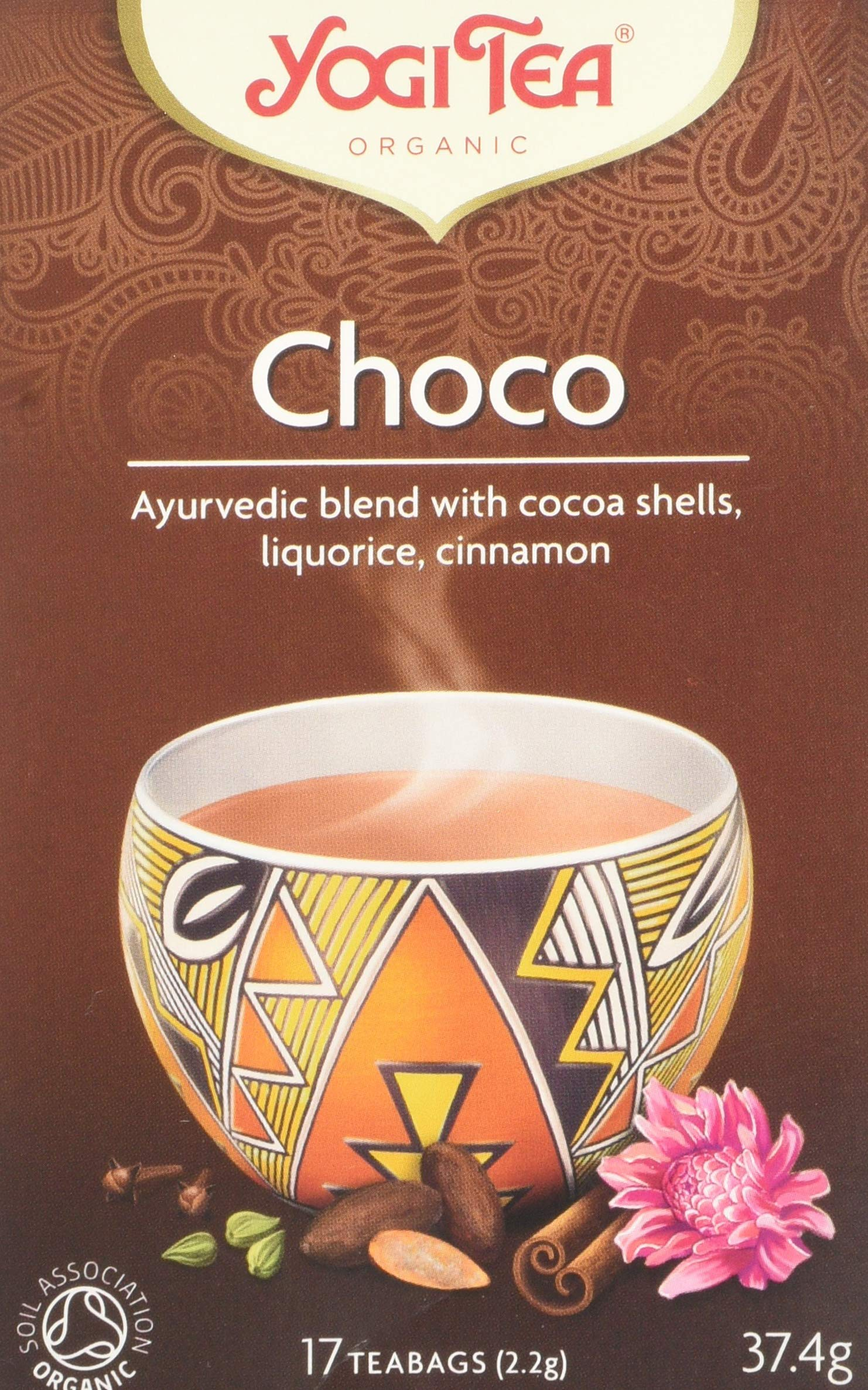 YOGI TEAS - AYURVEDIC Organic Fairtrade Choco Tea Bags 17bags (PACK OF 1)