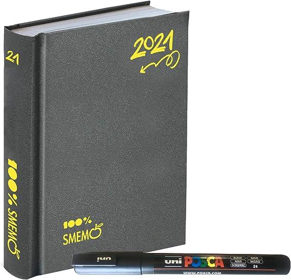 12x16.5cm All black Smemo Agenda 2020//2021 Giornaliera