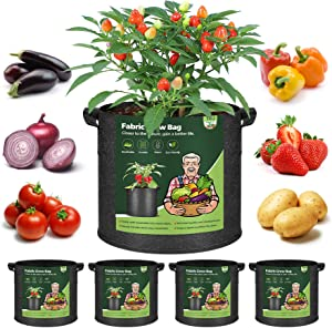 T4U Fabric Plant Grow Bags with Handles 5 Gallon Pack of 5, Heavy Duty Nonwoven Smart Garden Pot Thickened Aeration Nursery Container Black for Outdoor Potato, Tomato, Chili, Carrot and Vegetables