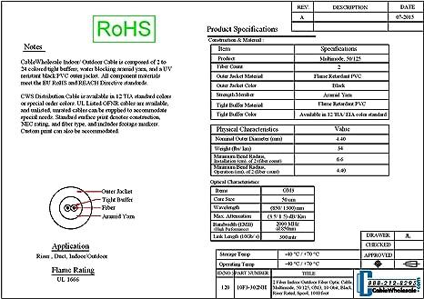 Multimode 10 Gbit 1000 Foot Spool 50//125 OM3 Riser Rated Aqua 6 Fiber Indoor Distribution Fiber Optic Cable