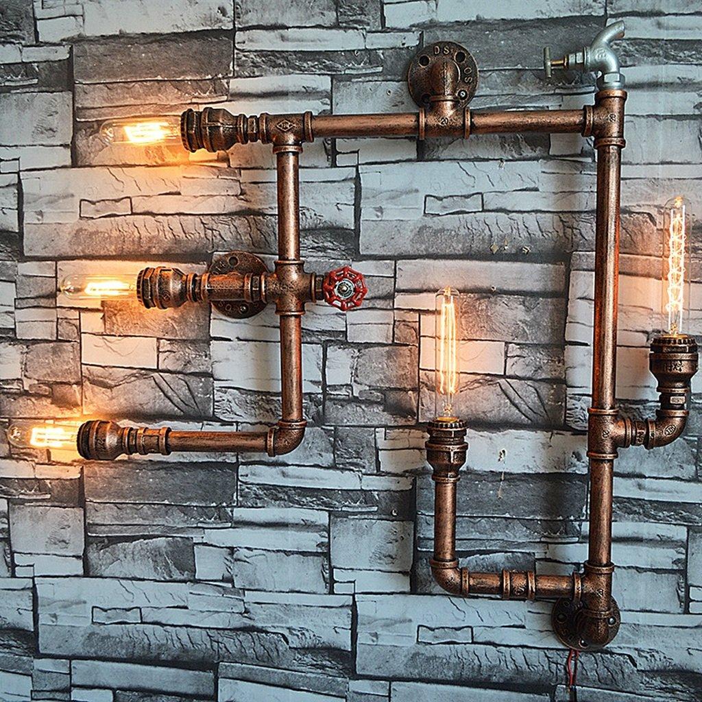 Crayom Vintage Industrial retro tubo acqua cinque fonti di illuminazione Edison lampada a parete Luce Steampunk Luce Rustic Style Luci Hotel Garage Barn garage illuminazione Luminaire Alta: 75 cm