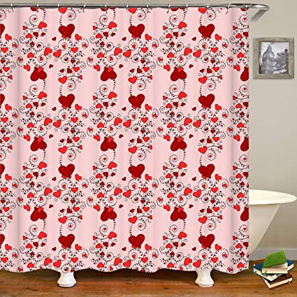 SARA NELL Vintage Red Heart Valentines Day Shower CurtainWaterproof Mildew Resistant Polyester Fabric