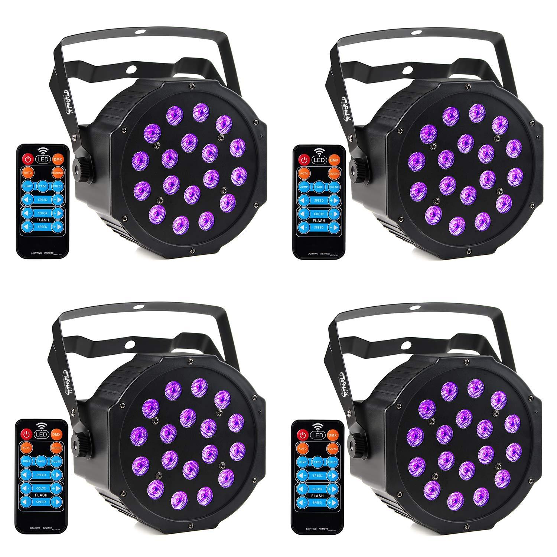 4 Pack DJ Lighting CrtWorld 9+1 RGB+UV Stage Lights With Remote For Wedding Stage Lighting