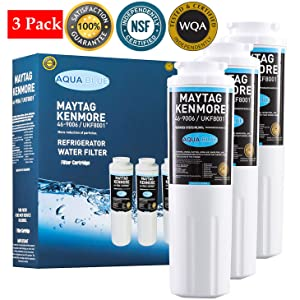 Aqua Blue 8001 Compatible Replacement For Maytag UKF8001,Kenmore 9006 Refrigerator WaterFilter Nsf Certified (3 Pack)