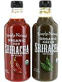 Combo Simply Natural Organic Red and Green Sriracha Hot Sauce 16 FL/473 mL Each
