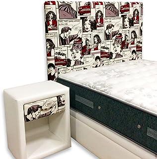 suenoszzz- testiera, Rivestimenti Stampato Ragazzo. Medida: 130 x 57 cm Bianco + Fumetti
