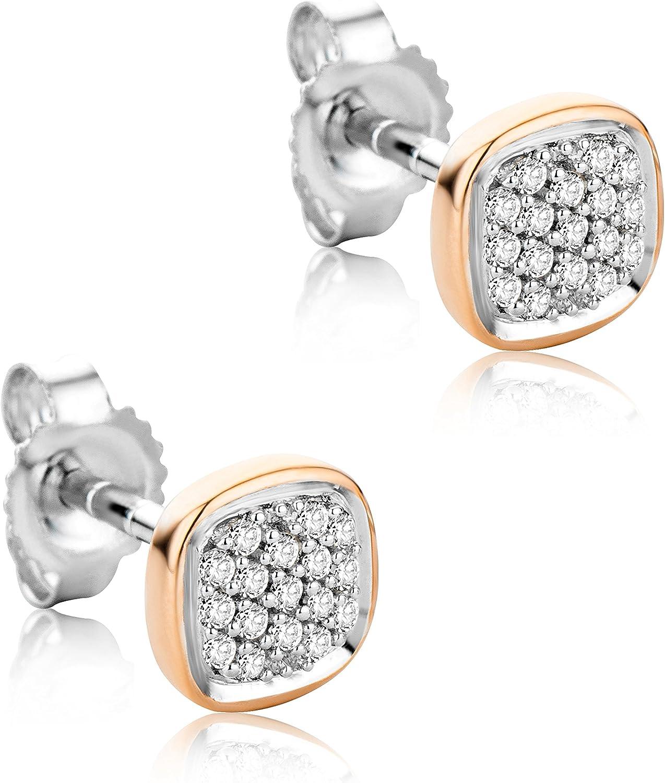 Orovi Pendientes Señora presión en Oro Blanco y Oro Rosa con Diamantes Talla Brillante 0.10 ct Oro 9 Kt / 375