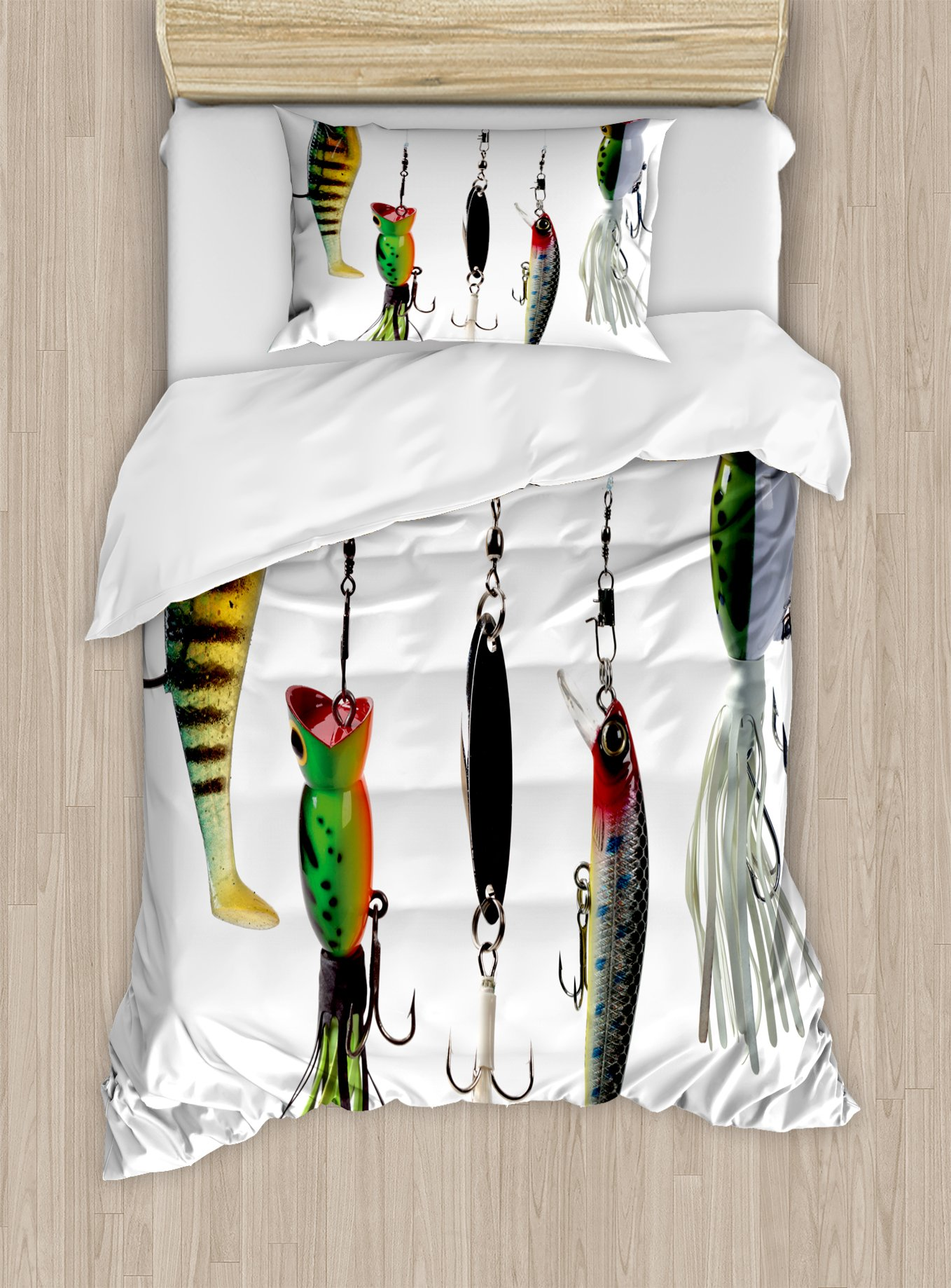 Ambesonne Fishing Duvet Cover Set Twin Size, Various Type of Fishing Baits Hobby Leisure Passtime Sports Hooks Catch Elements, Decorative 2 Piece Bedding Set with 1 Pillow Sham, Multicolor