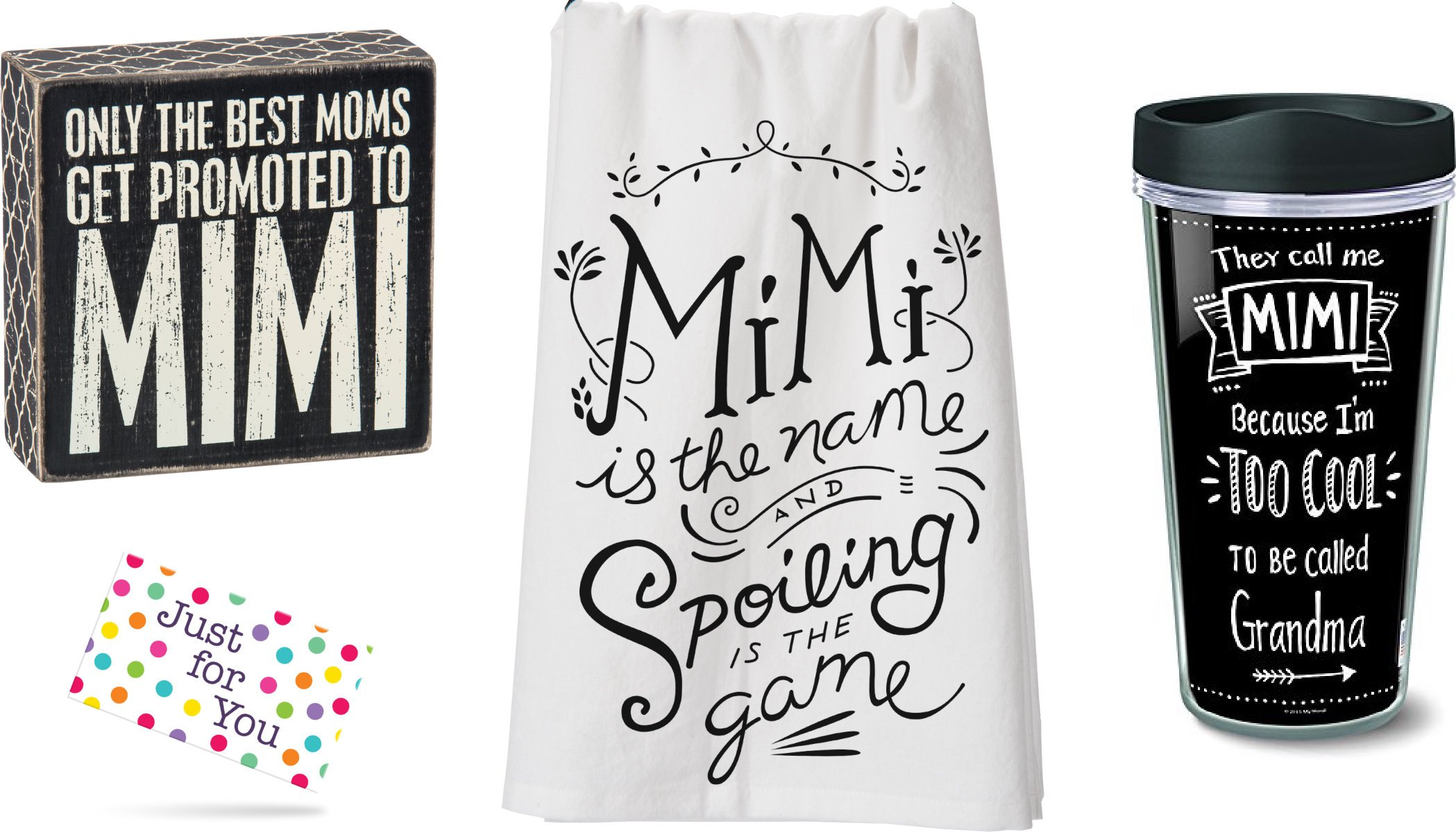 Mimi Travel Mug, Promoted to Mimi Box Sign, and Mimi Spoiling Kitchen Towel Set with Gift Tag by J4U