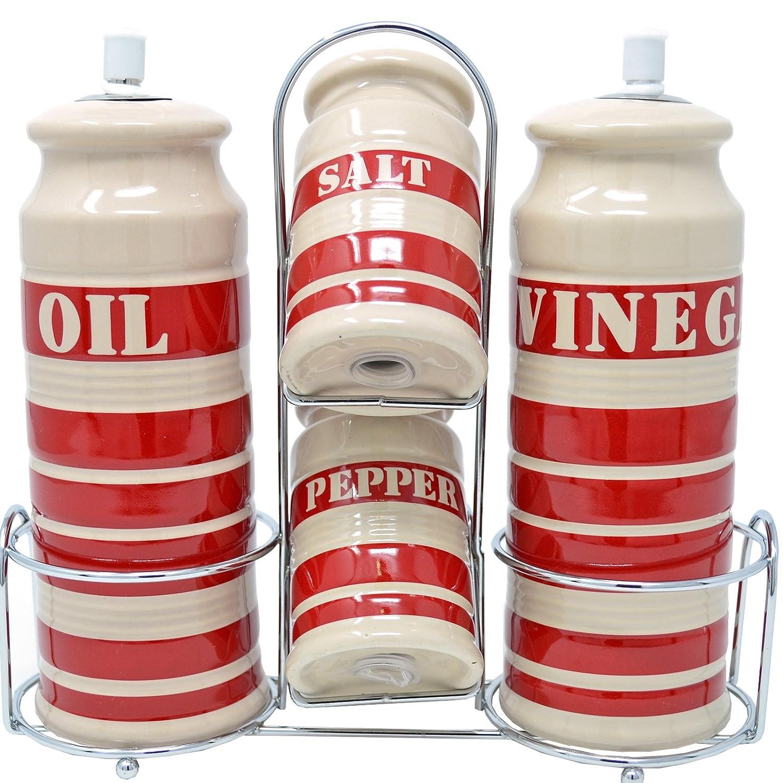 5PC CERAMIC CRUET SET SALT PEPPER OIL VINEGAR METAL STAND CONDIMENT SERVING RED DP