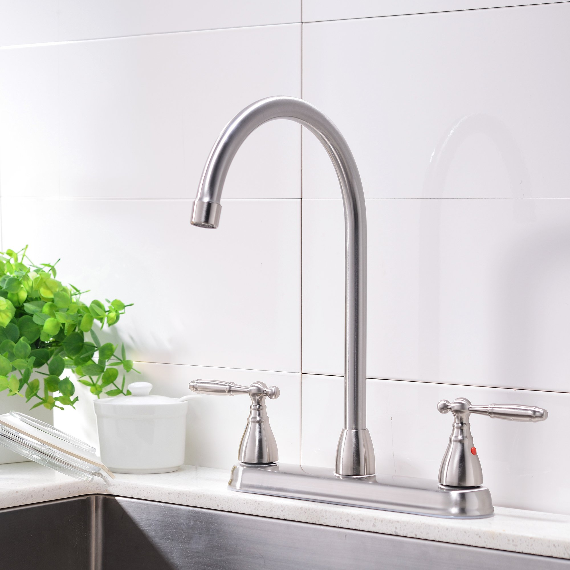 Comllen High Arc Swivel Spout Brushed Nickel Two Handle Kitchen Sink Faucet, Lead Free Kitchen Faucet