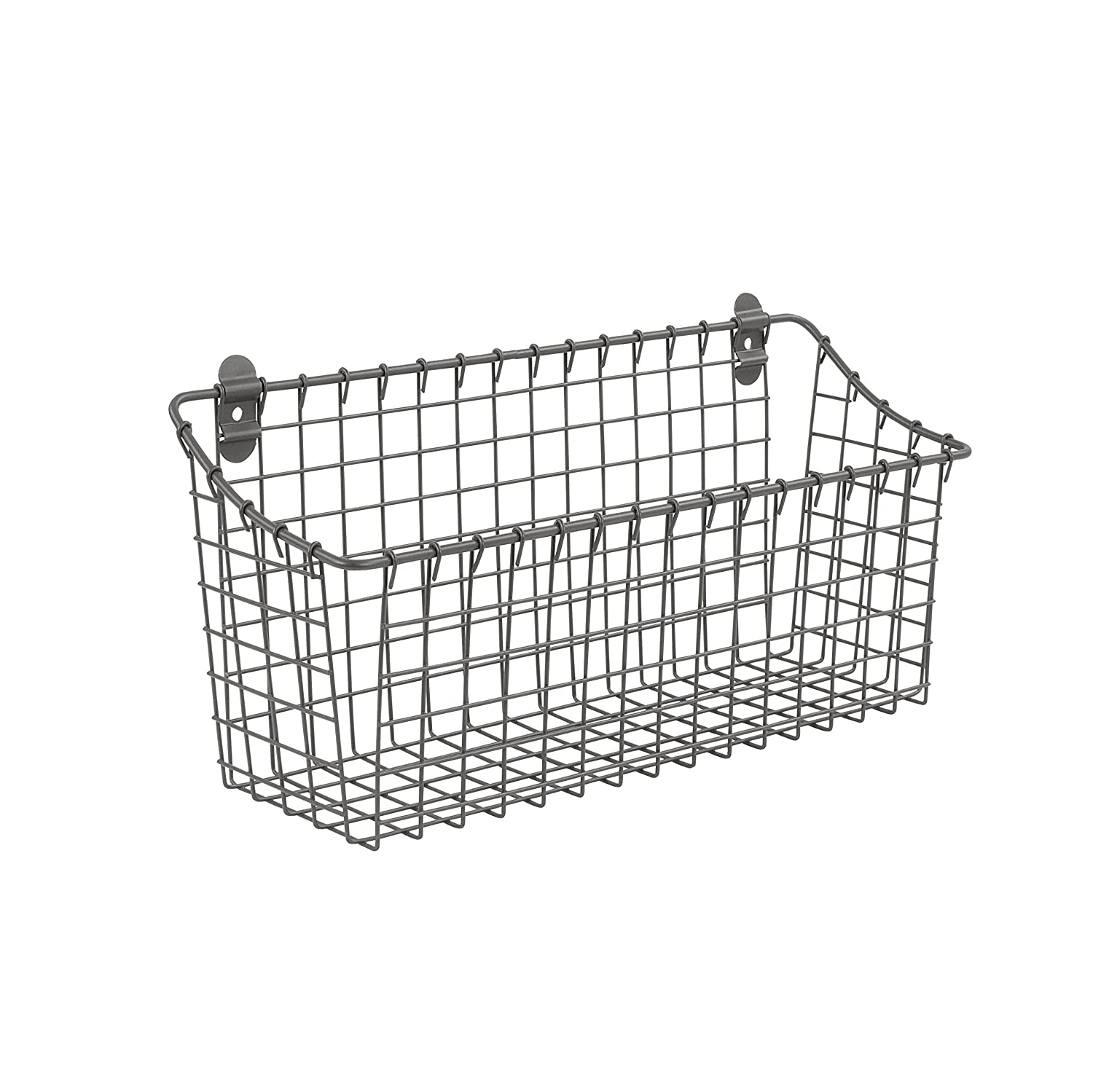 Spectrum Diversified Large Vintage Cabinet & Wall Mount Basket, Industrial Gray 86176