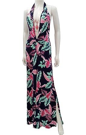 7348fd178b Amazon.com  LOVEBREEZE Women s Floral Print Plunge V Neck Wide Leg Jumpsuit   Clothing