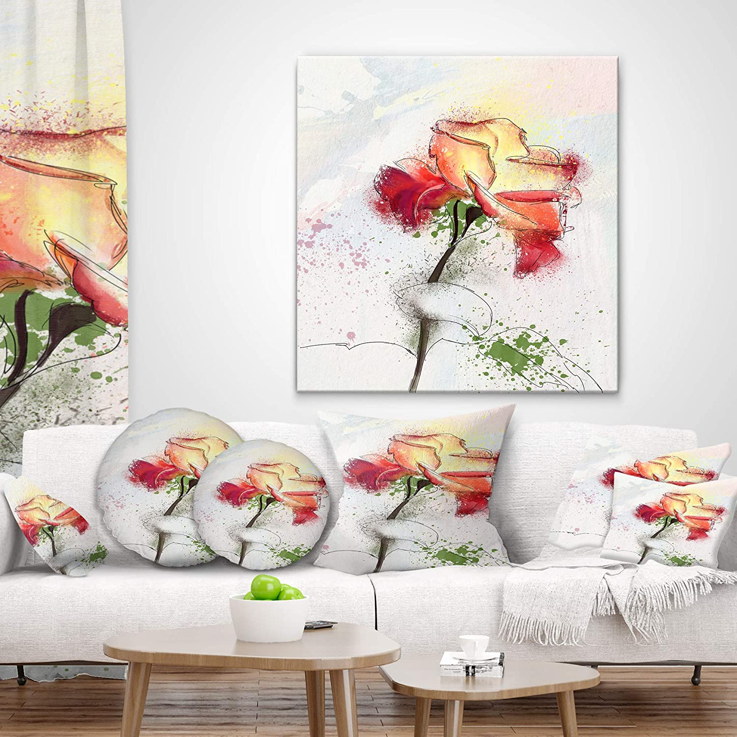 in Designart CU13671-26-26 Beautiful Rose Illustration Drawing Floral Cushion Cover for Living Room x 26 in Sofa Throw Pillow 26 in Insert Printed On Both Side