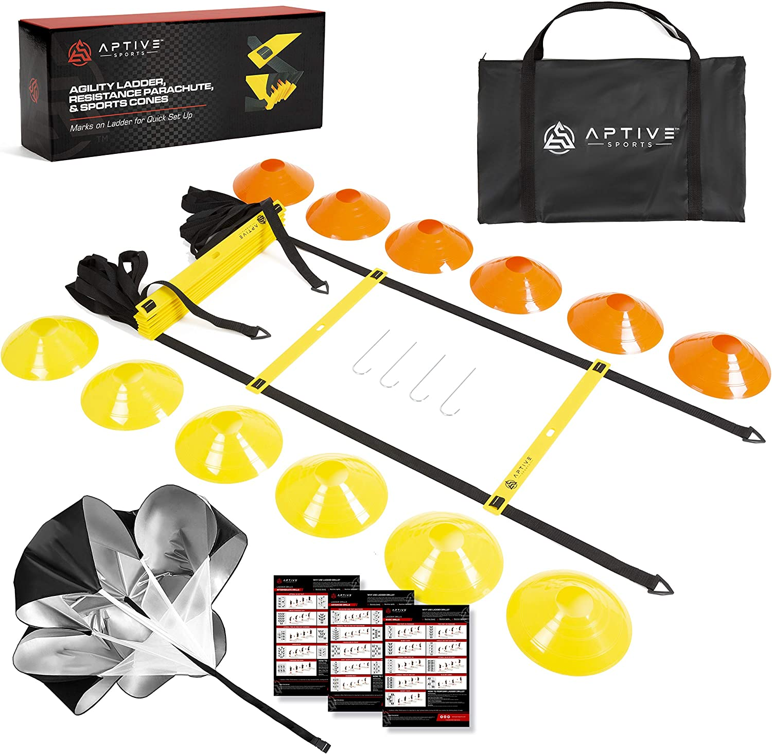 Speed and Agility Ladder Training Set - Speed Ladder, Parachute & Sport Cones Set - Maximize Coordination, Fitness, Quick Footwork - Soccer Training Equipment Kit with Carry Bag & E-Ladder Drills