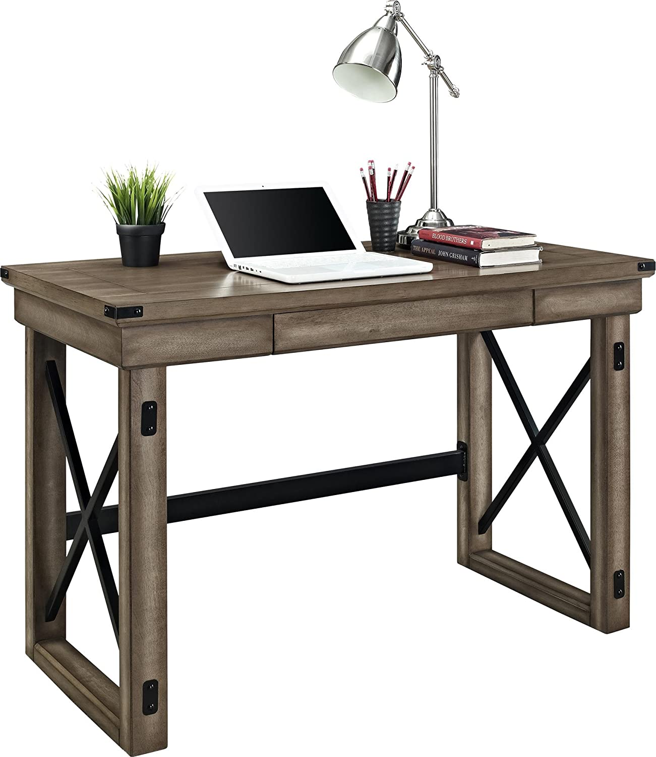 Amazon.com: Ameriwood Home Wildwood Wood Veneer Desk, Rustic Gray: Kitchen  U0026 Dining