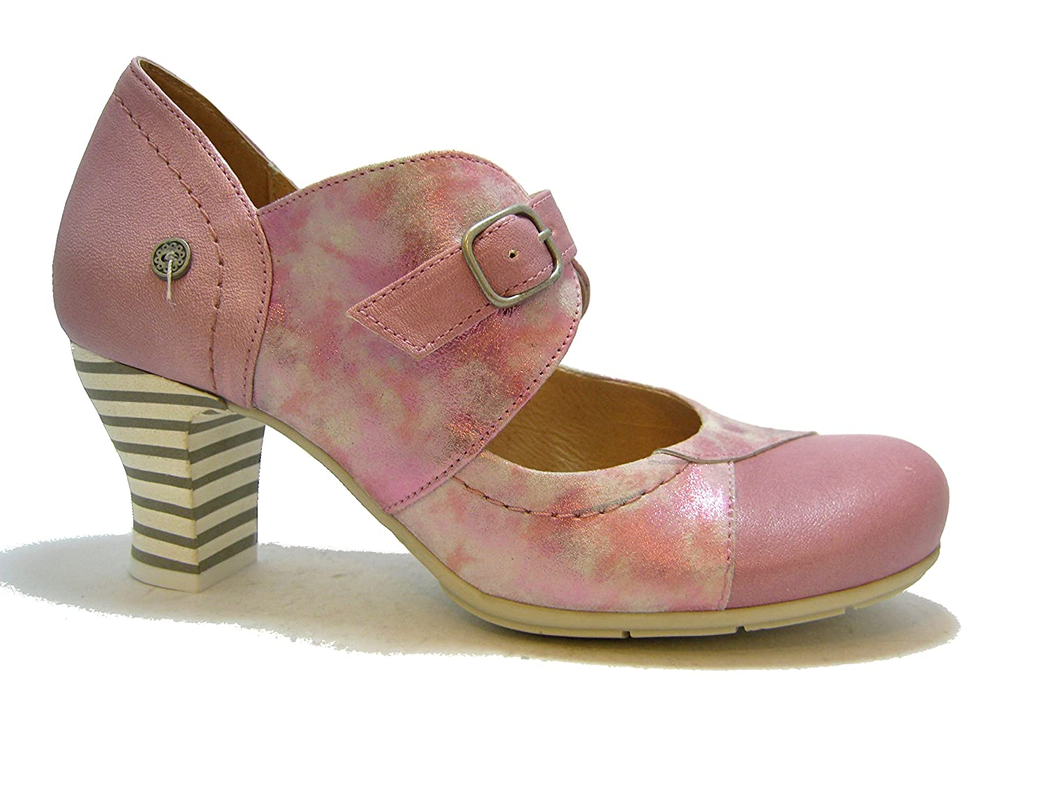 Gold Button 9728 Pumps, Damen, Leder, Rosa und Pink Metallic