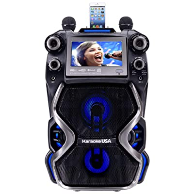 Karaoke USA Complete Rechargeable Karaoke System with 2 Microphones, Remote Control, 7'' Color Display, LED Lights – Works with Bluetooth, CD and MP3 (GF920): Musical Instruments