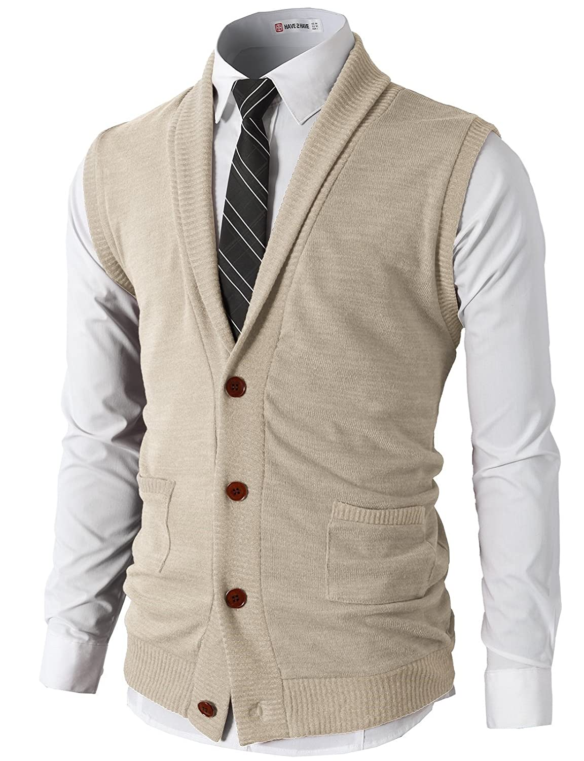 H2H Mens Casual Slim Fit Kniited Sweater Vests V-Neck Button-Down Shawl Collar Pockets #CMOV034