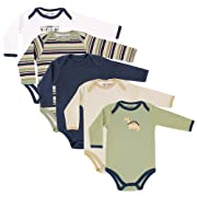 Luvable Friends Baby Long Sleeve Bodysuits, Green Dinosaur 5-Pack 6-9 Months (9M)