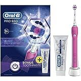 Oral-B 欧乐-B Pro 650 粉色3D亮白 可充电电动牙刷和牙膏国际版 粉色 - 英国版 单只刷头 带牙膏 粉色