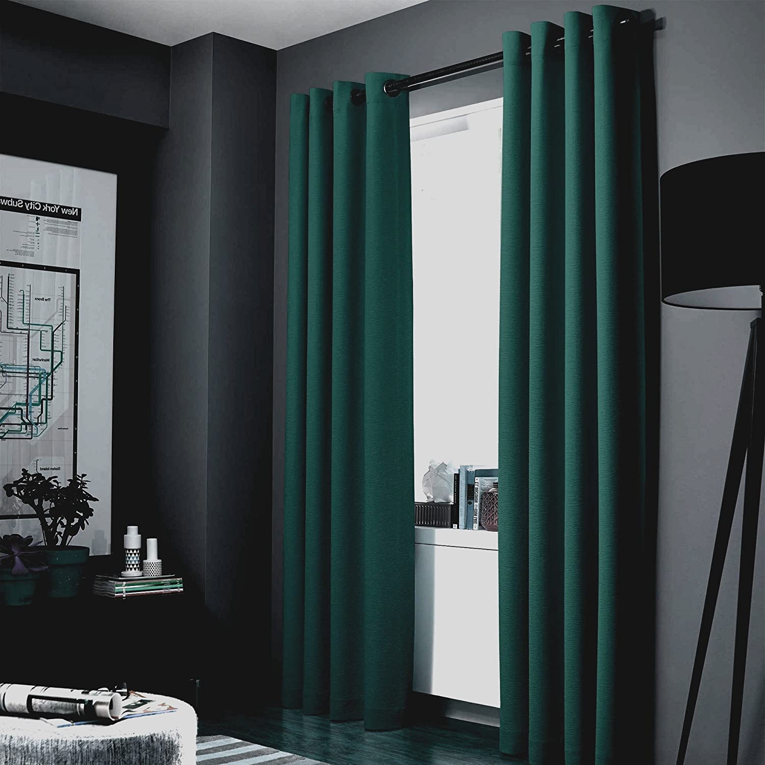Gorgeous Home Linen (AAA) 1 Panel Solid Thermal Foam Lined Blackout Heavy Thick Window Curtain Drapes Bronze Grommets (Green, 95