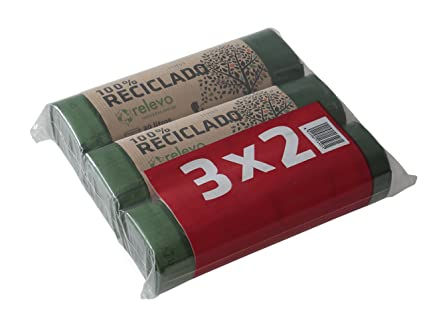 31CREL0031 Caja de 12 Rollos Relevo Bolsas de Basura Reciclado con Auto-cierre de Capacidad 100 litros, 13 unidades