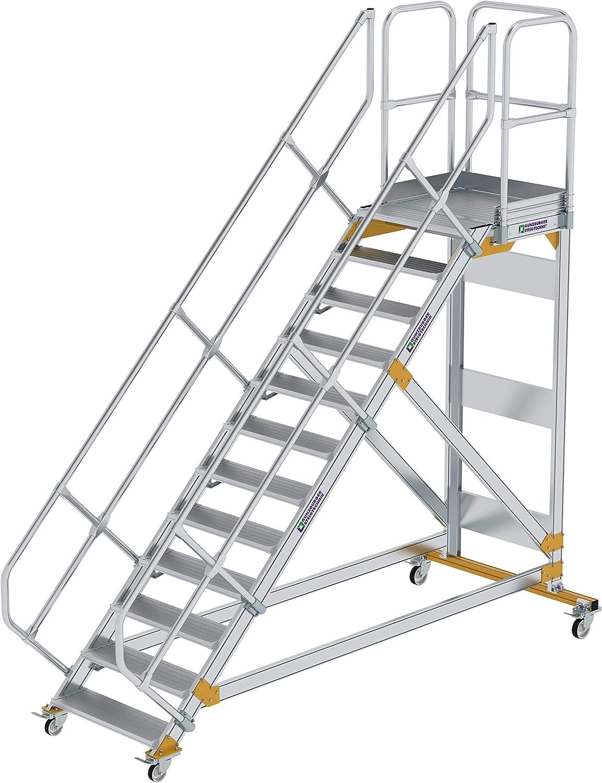 GÜNZBURGER STEIGTECHNIK Escalera de plataforma de aluminio, móvil, 45°, 800x12: Amazon.es: Bricolaje y herramientas