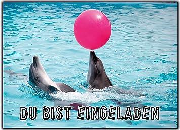 11er Set Delfin Einladungskarten Zum Kindergeburtstag Ausgefallen Mädchen  Jungen   11 Stück Schwimmbad Schwimmen Poolparty