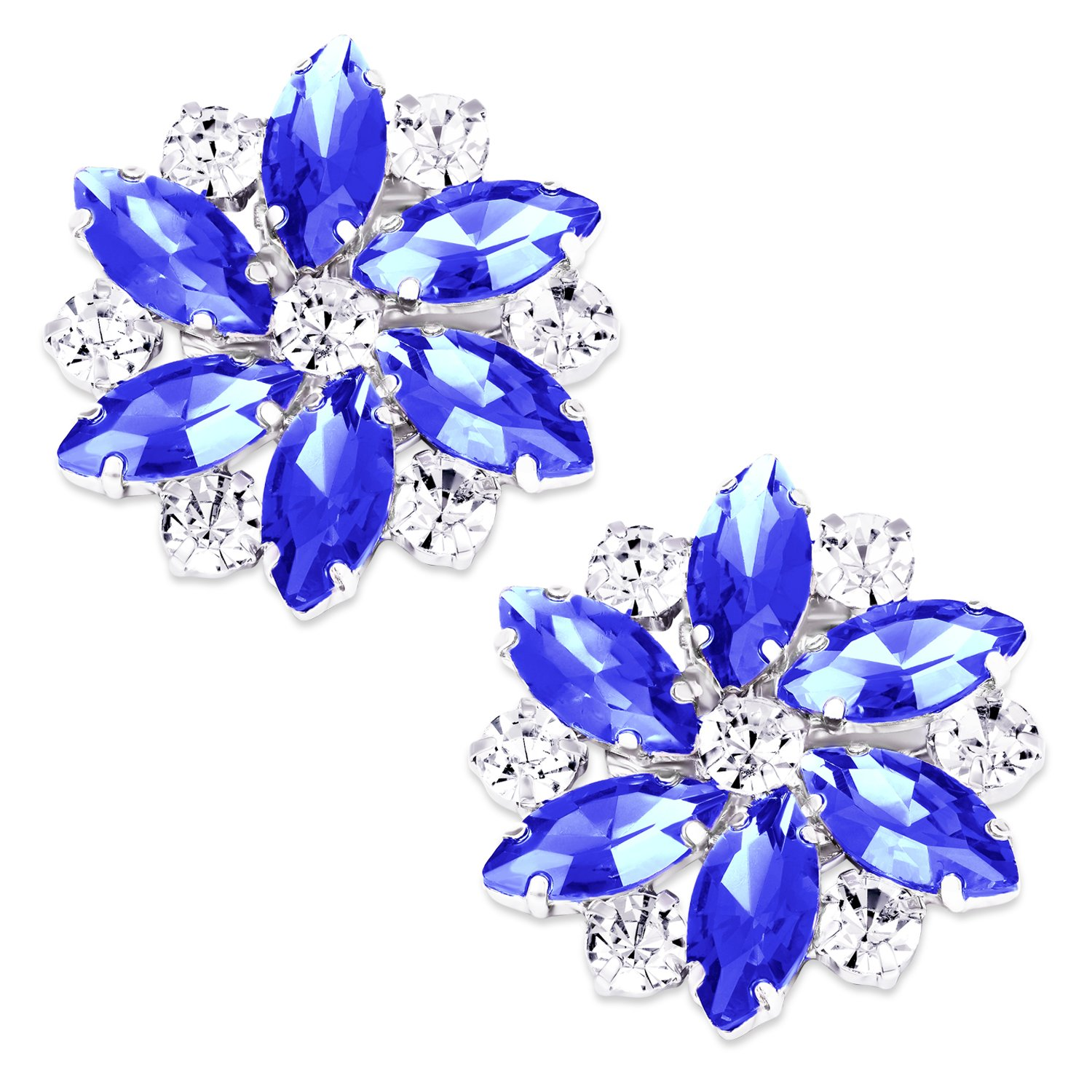LUXVEER Removable Sparkle Rhinestone Flower Clips for Wedding Prom Shoes (Royal blue)-2 Pack