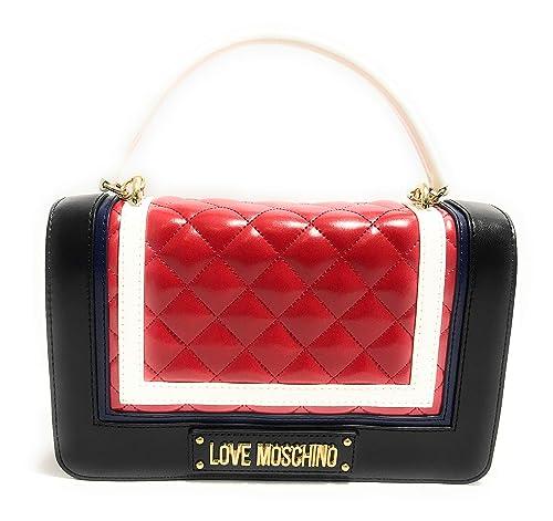 Love Moschino Borsa Quilted PU MIX Rosso multi color  Amazon.it  Scarpe e  borse b2b388f41d0