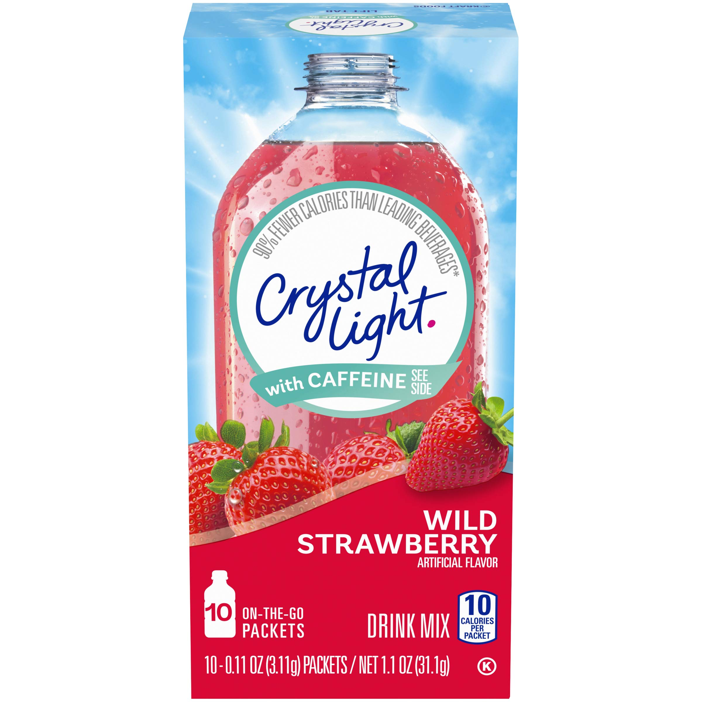 Crystal Light Sugar-Free Wild Strawberry Drink Mix with Caffeine (10 On-the-Go Packets)