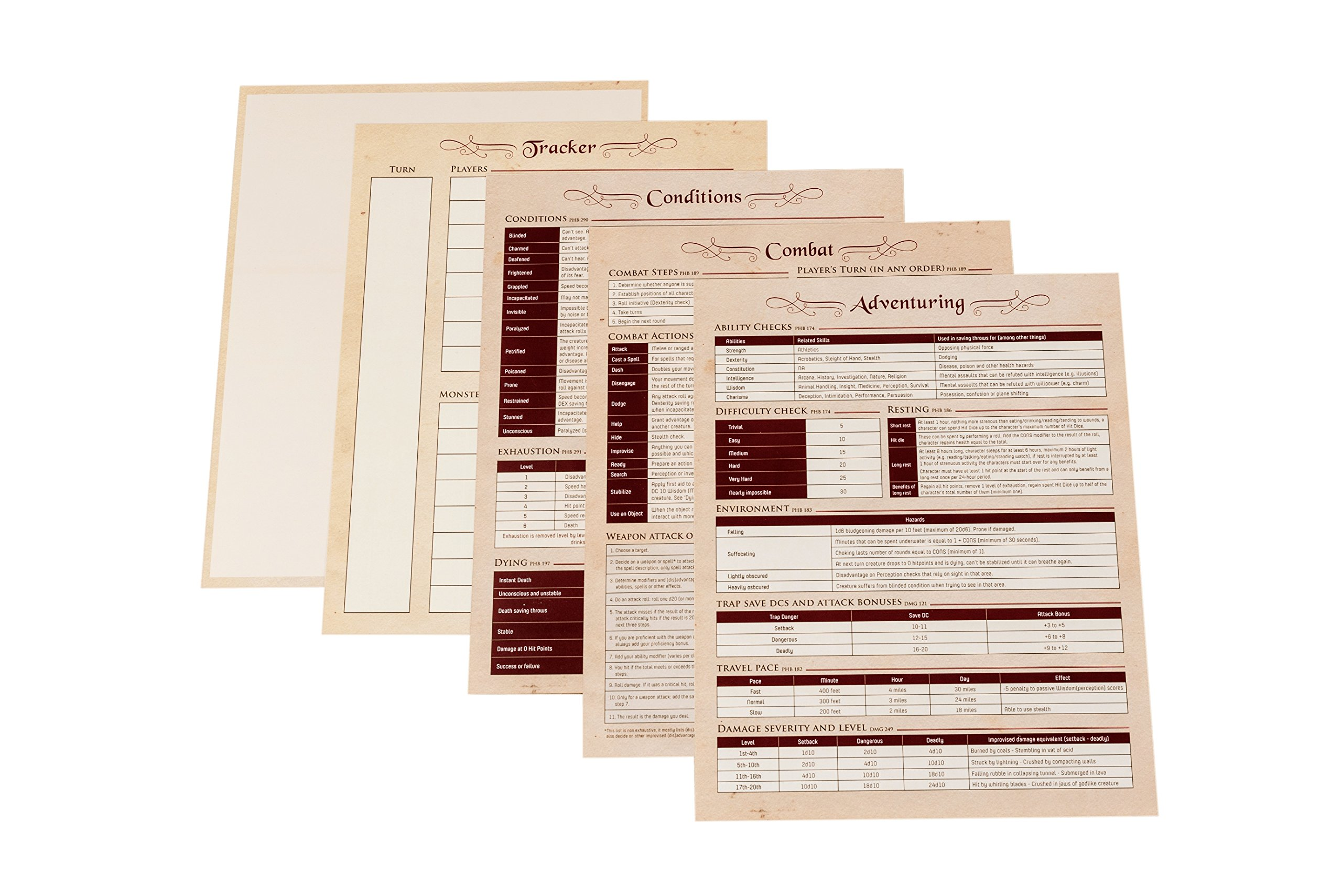 Hexers Game Master Screen - Dungeons and Dragons D&D DND DM Pathfinder RPG Role Playing Compatible - 4 Customizable Panels - Inserts Included That Slide into The Pouches - Dry Erase Tracker Sheet by Hexers (Image #5)