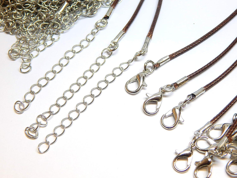 Perlin 10 SCHMUCKBAND Halsband BRAUN 46cm Hals BAUMWOLLKORDEL GEWACHST 1,5mm Halskette Geflochtet mit Karabiner Verschluss C17