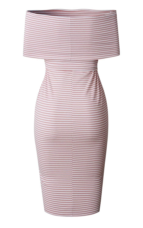 Angashion Damen Kleider Elegant Gestreift Schulterfrei Etuikleider