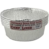 """CampLiner Dutch Oven Liners, 12 Pack of 10"""" 4 Quart Disposable Liners - No More Cleaning or Seasoning. Fits Lodge, Camp Chef, And Other Cast Iron Dutch Ovens"""