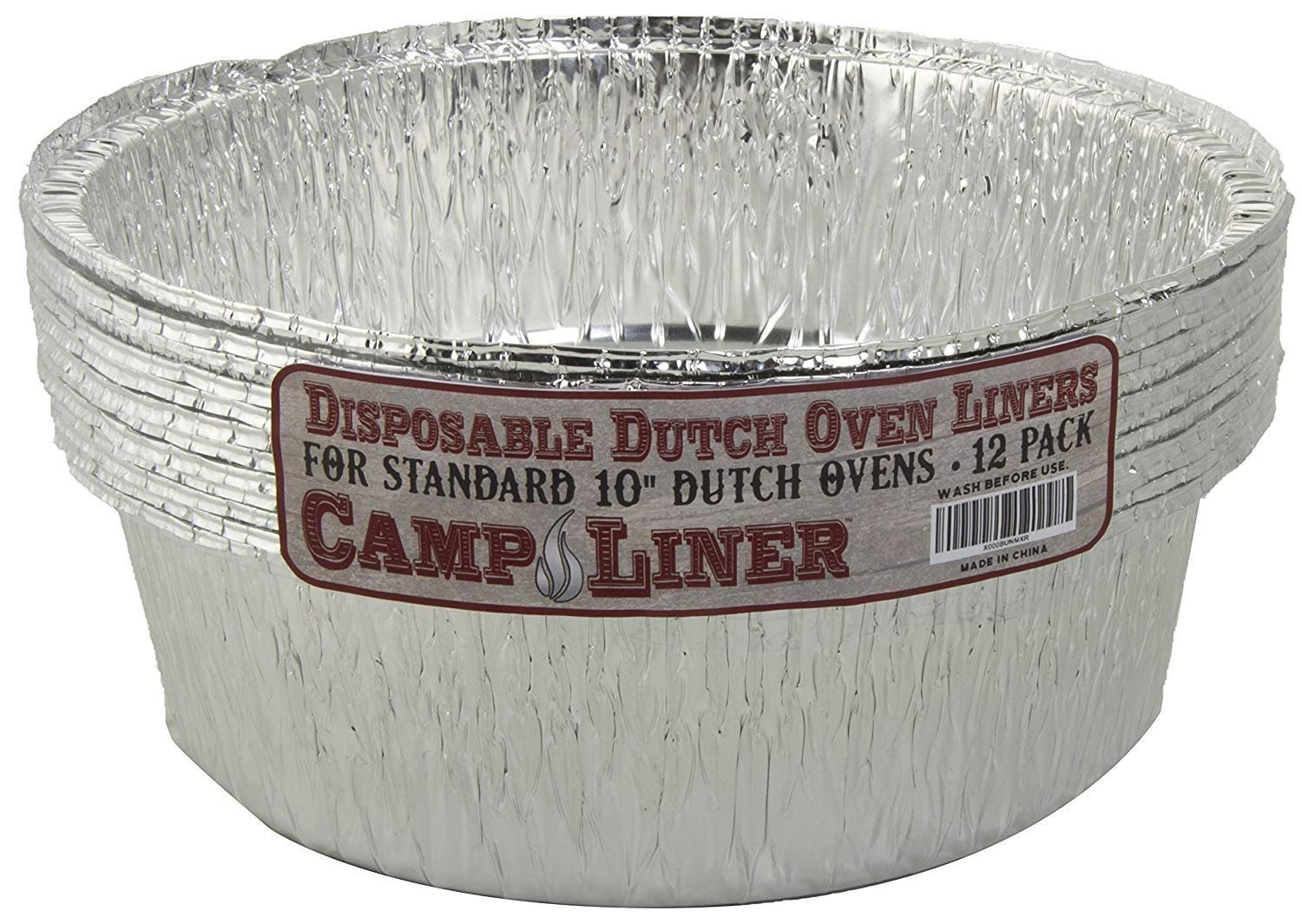 Campliner Dutch Oven Liners, 12 Pack of 10'' 4 Quart Disposable Liners - No More Cleaning or Seasoning. Fits Lodge, Camp Chef, And Other Cast Iron Dutch Ovens by CAMP LINER