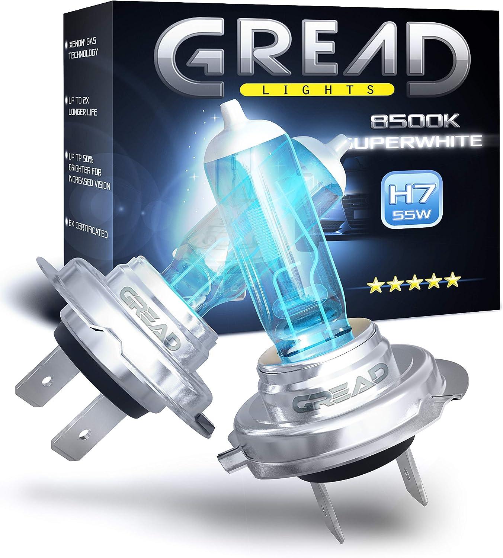 Gread 2x H7 Halogen Lampen Super White 8500k 55w E Prüfzeichen Xenon Optik Auto