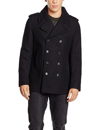 New Look Herren Not Applicable  71 Mantel, Wool Peacoat, Gr. Small, Schwarz  (Navy Pea Coat)  Amazon.de  Bekleidung 0e38f2047d