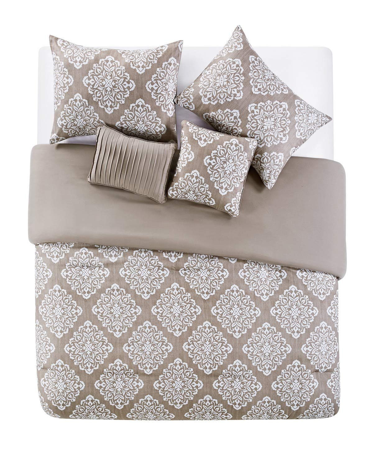 VCNY Home Aria Bohemian Medallion 5 Piece Bedding Comforter Set, King, Taupe
