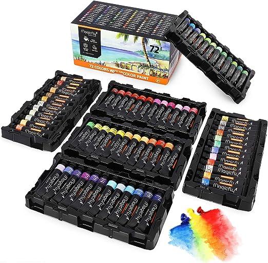 Magicfly Pinturas para Acuarelas, 72 Colores 12 ml/Tubo, Kit de Acuarelas de Colores para Niños Principiantes Artistas, para Pintar en Papel de Acuarela, Lienzo: Amazon.es: Hogar