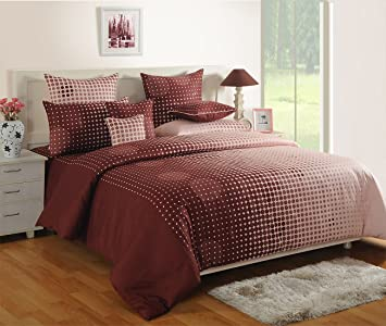 Incroyable Swayam Choclate Colour Fitted Double Bed Sheet With Pillow Covers GS BED  1804