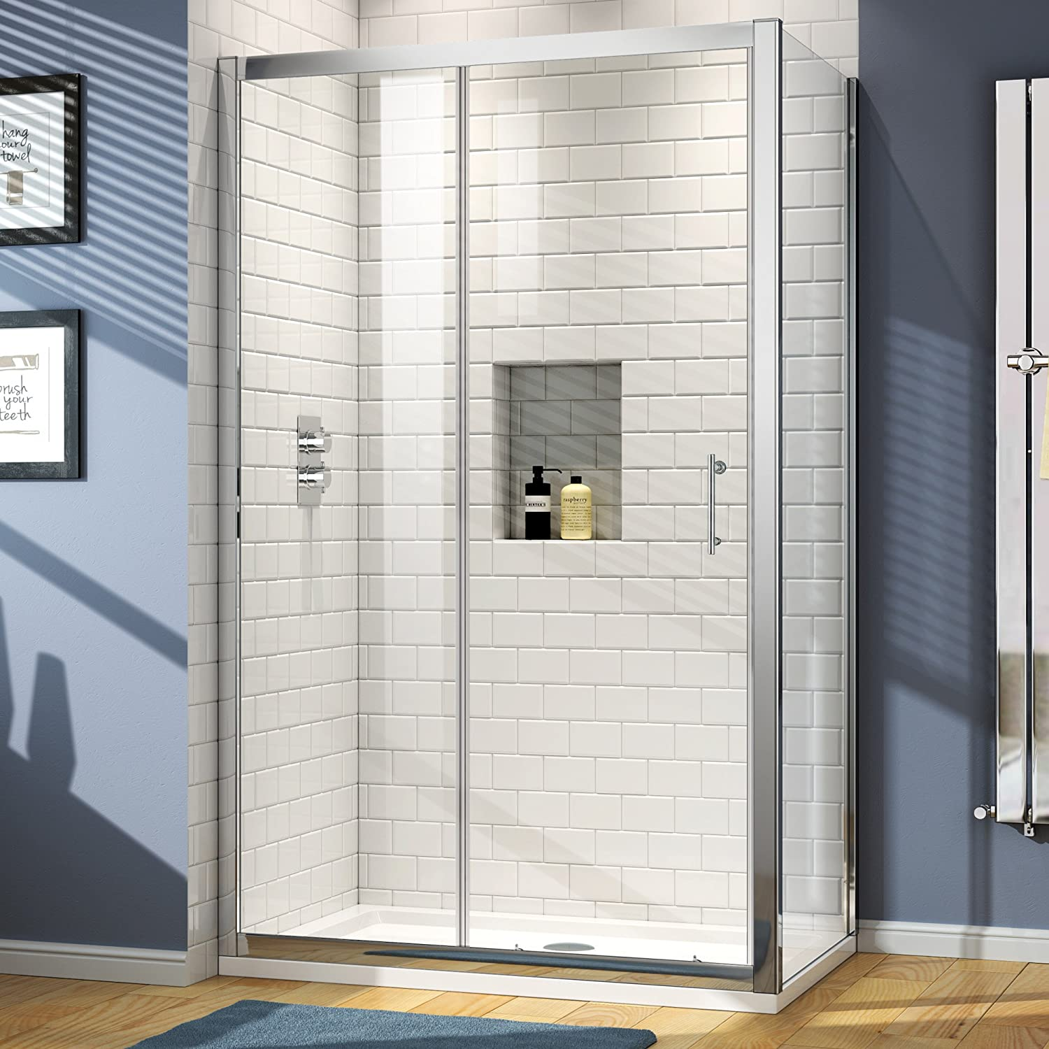 iBathUK 1100 x 760 Modern Sliding 6mm Glass Shower Enclosure Set ...