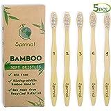 5pcs Sprmal Bamboo Toothbrushes 100% Natural Organic Biodegradable and Vegan Bamboo Soft BPA Free Nylon Bristles For Sensitive Gums