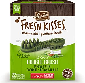 Merrick Fresh Kisses Medium Oral Care Dental Dog Treats; for Dogs 25-50 lbs