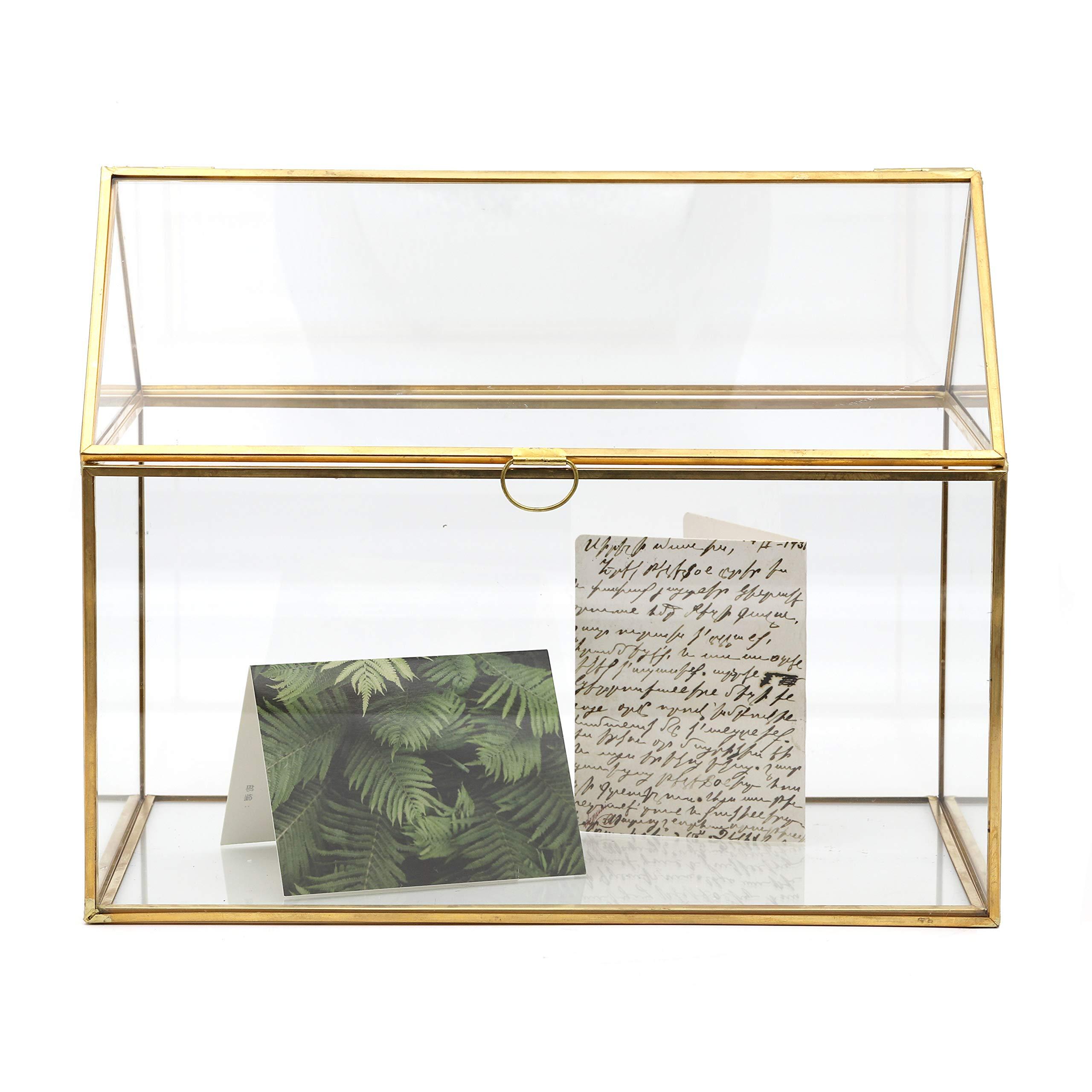 NCYP Large Inches Geometric Glass Decor Card Box Terrarium Centerpiece Tabletop Planter Handmade Copper House Shape Flower Pot for Plants Succulents (10.2'' X 8.3'' X 6.3'' )