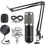 FIXKIT BM-800 Pro Condenser Microphone & Adjustable Mic Suspension Scissor Arm, Metal Shock Mount and Double-layer Pop Filter for Computer Studio Recording Broadcast