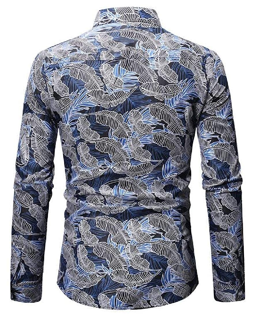 Domple Mens Button Down Printed Casual Business Plus Size Slim Dress Work Shirt