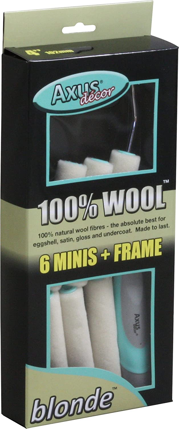 4 Axus Decor AXU//RPBLN47 Blonde 100/% Natural Wool Mini Roller Pack 102mm Set of 7 Pieces 6 x Sleeves /& Frame